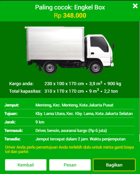 Hasil Kalkulator Harga Deliveree