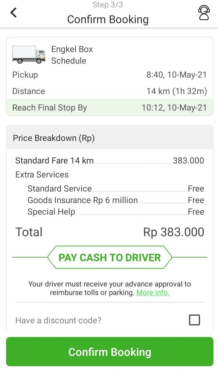 Deliveree Booking Step 3