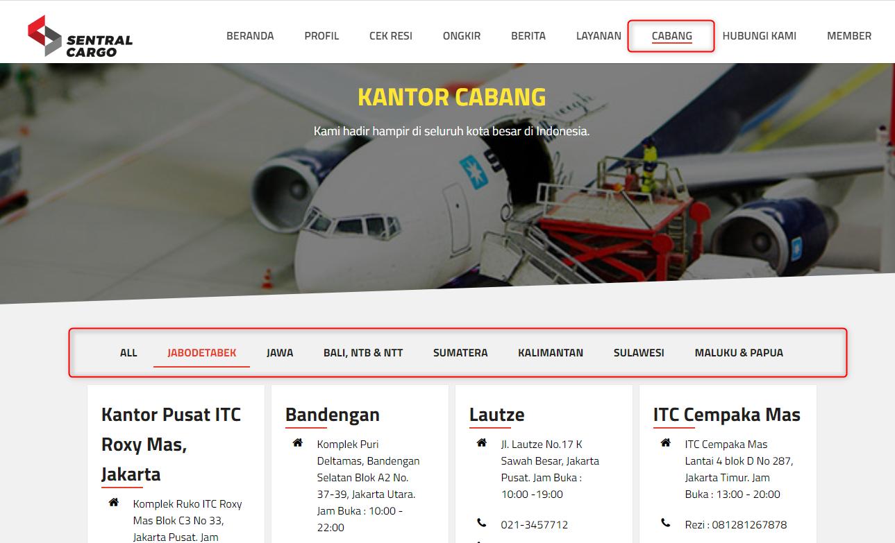 Sentral Cargo Website