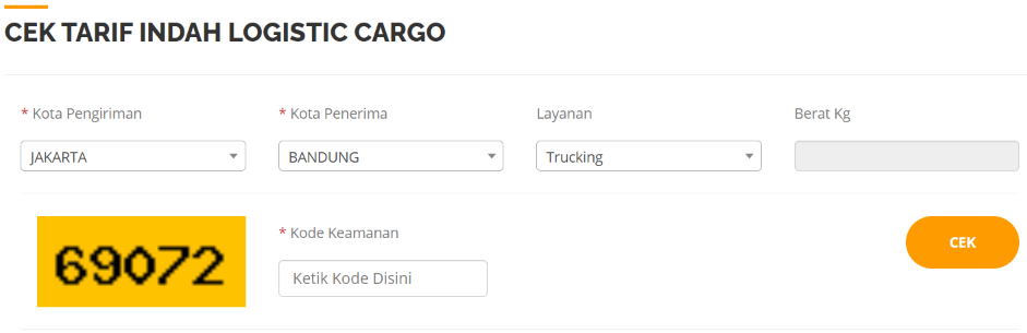 Cek Ongkir Indah Logistics